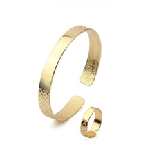 14k Gold Plated Bangle and Ring Jewelry Sets Women(China (Mainland))