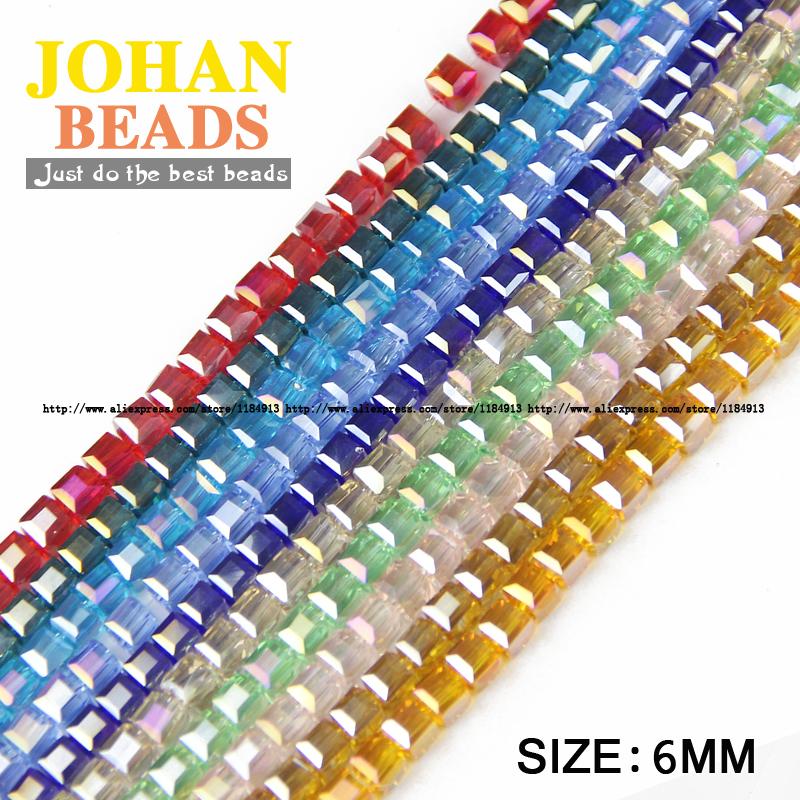 High quality 6mm 50pcs AAA Square shape Upscale Austrian crystal beads loose quadrate glass ball supply bracelet Jewelry DIY NEW()