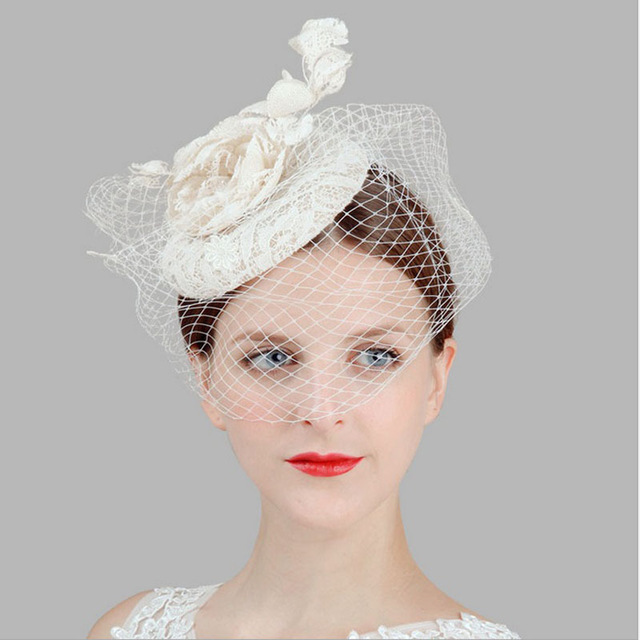 solid veil fascinator flower hairpin women's white lace linen top hats party pillbox fedoras rose Hair Clip wedding headwear(China (Mainland))