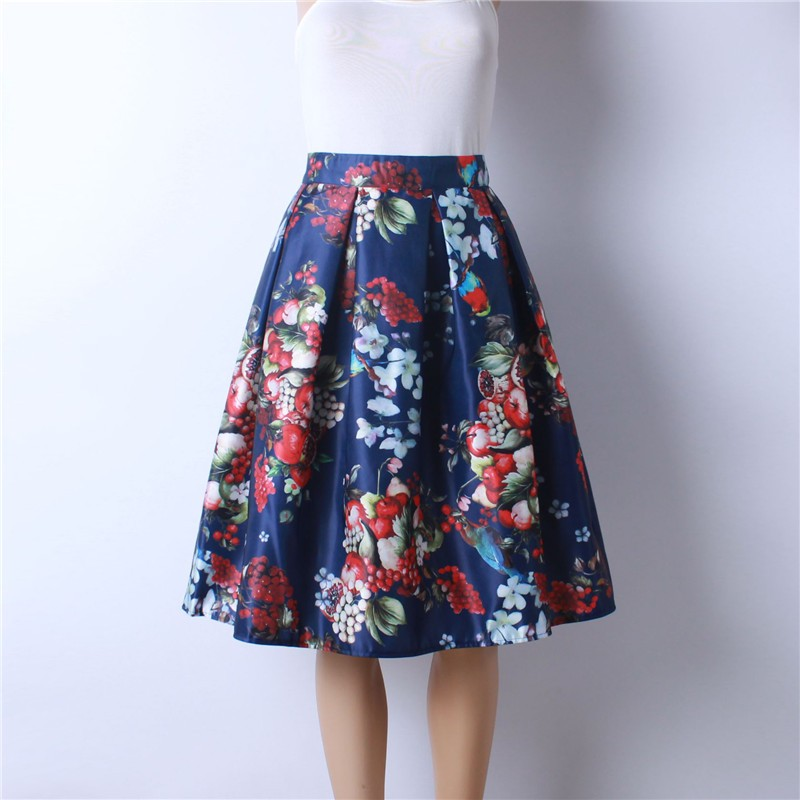 HTB12iKOMpXXXXaaXpXXq6xXFXXXo - GOKIC 2017 Summer Women Vintage Retro Satin Floral Pleated Skirts Audrey Hepburn Style High Waist A-Line tutu Midi Skirt
