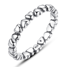 Authentic 925 Sterling Silver LOVE Heart Compatible with fits Pandora Ring Crystal Silver 925 Original Anniversary Jewelry(China (Mainland))