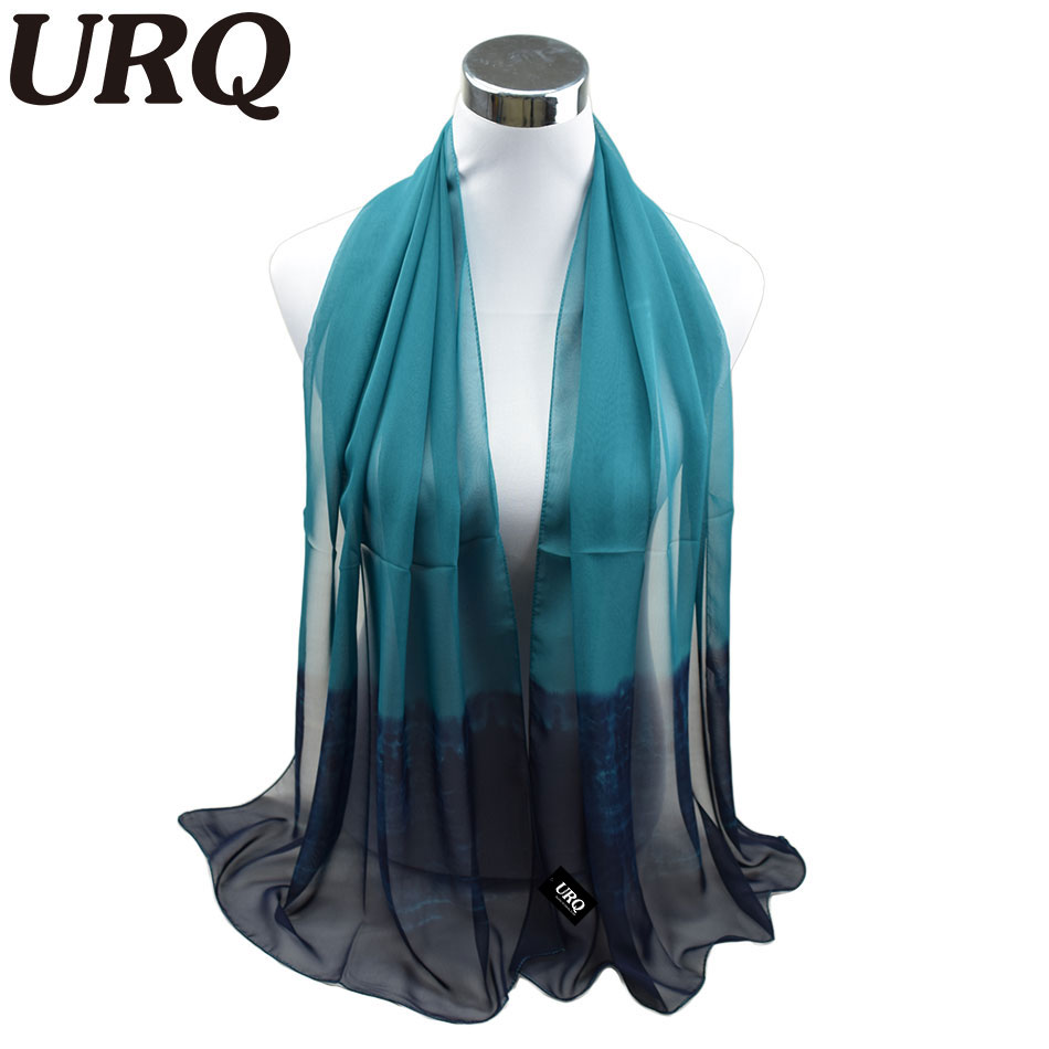 silk scarf ombre Wrap Solid Colored Scarves Foulard Chiffon Hijab Luxury Brand Scarf Bufandas Cape Head Scarves 2016 URQ(China (Mainland))