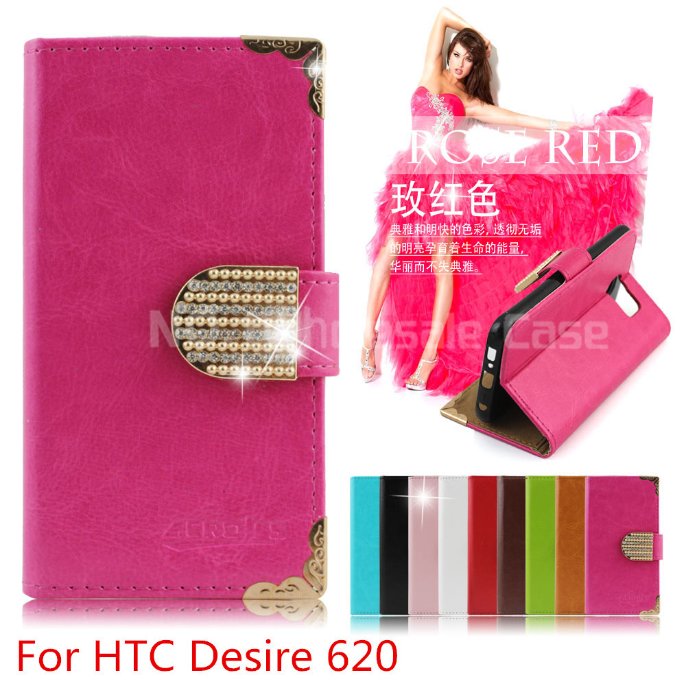 2015 Hot sale Wallet Bling Leather Case For HTC Desire 620 820Mini Phone Bag Rhinestone Flip Cover With Card Slot (xkm)(China (Mainland))