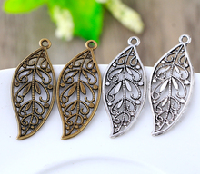 Buy 12pcs 17X42mm Antique Bronze Silver Plated Charms Bracelet Necklace Accessories Pendant New Fashion Alloy Zinc Leaf for $2.09 in AliExpress store