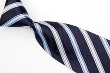 NT0478 Blue White Striped Classic Smooth Man s Casual Silk Polyester Necktie Business Knitted Tie