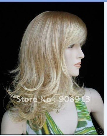 Super Great ladies healthy blonde scroll Hair wigs    free shipping