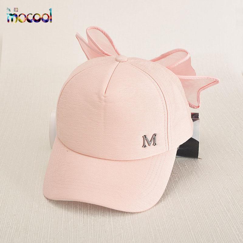brand quality kpop cap women fashion big Bow summer sun caps girl cap m logo Baseball Cap Black Pink hat kids paternity visorcap(China (Mainland))