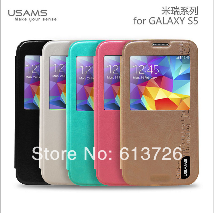 1 Original New Brand USAMS Smart Flip Slim Leather Case Protective Cover Samsung Galaxy s5 G900 - Shenzhen Green Electronics Co.,LTD store