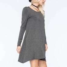Top Fashion Autumn Women Casual Loose Sleeve Dress Cotton Solid Long Maxi Dresses Vestidos Plus Size Basic Shift S292(China (Mainland))