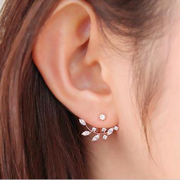 Korean Zircon elegant gold leaf leaves asymmetric crystal earrings for women Piercing Jewelry E53