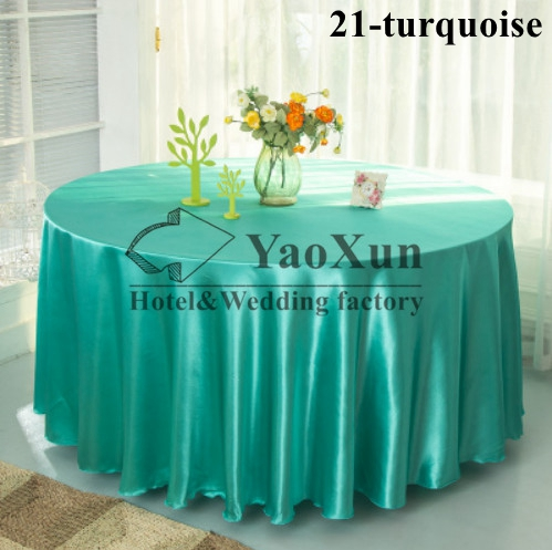 Turquoise Color Wedding Tablecloth \ Satin Table Cloth In Round(China (Mainland))