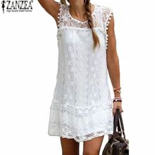 Summer Dress Zanzea 2016 Sexy Women Casual Sleeveless Beach Short Dress Tassel Solid White Mini Lace Dress Vestidos Plus Size(China (Mainland))