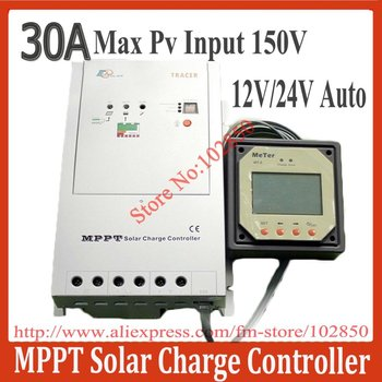 2012Brand New,MPPT solar charge controller 30a Tracer3215(MPPT solar controller)with MT-5,12V/24V Auto Work,Max Pv input 150V