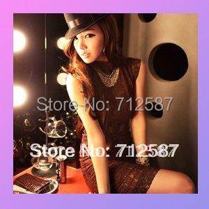 free shipping ladies' fashion sexy hot night club fashion lace backless women's dress Brown #5109