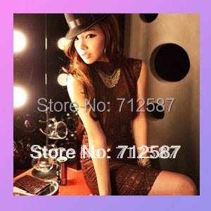 free shipping ladies' fashion sexy hot night club fashion lace backless women's dress Brown #5109