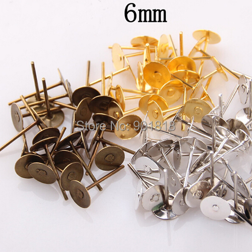 200pcs/lot 6mm Antique Bronze Gold Rhodium Earring Stud Ear Nail Iron Flat Base Cup Posts Earring Findings F26(China (Mainland))