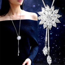 Buy Zircon Snowflake Long Necklace Sweater Chain Fashion Fine Metal Chain Crystal Rhinestone Flower Pendant Necklace for $1.90 in AliExpress store