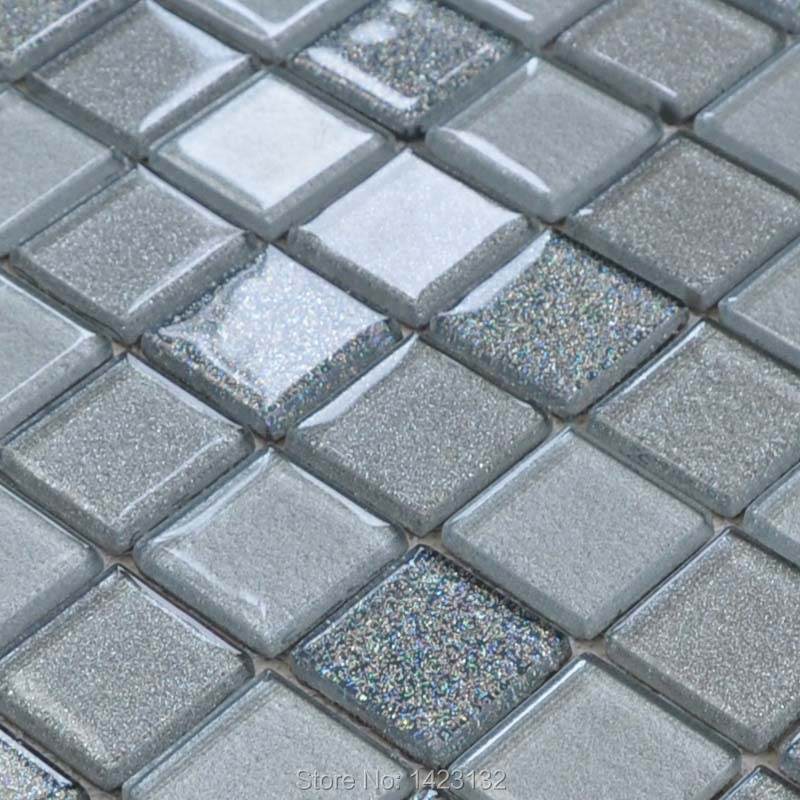 Crystal Glass Tile Grey Glass Mosaic Tile Yx001 Kitchen