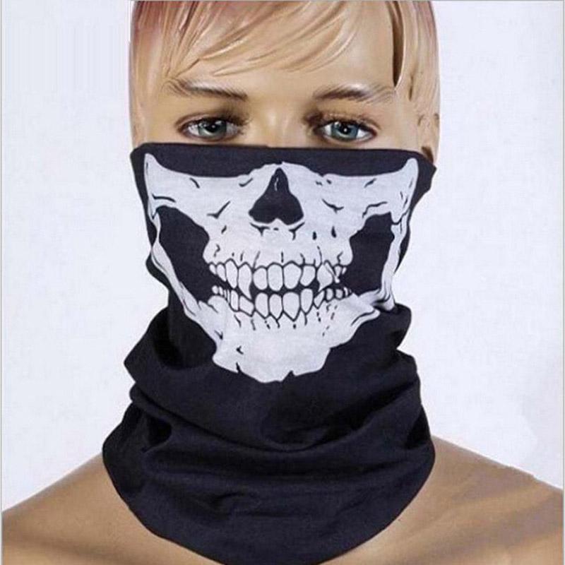 Halloween Skull Skeleton Party Masks Black Motorcycle Multi Function Headwear Hat Scarf Neck Scary Sport Face Winter Ski Mask(China (Mainland))