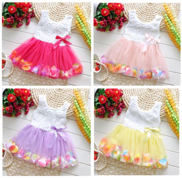 2016 Summer Style Girls Rose Petal Dress Cute Vestidos Infantis Princess Dresses Kids Baby Girl Clothes Children Party Clothing(China (Mainland))