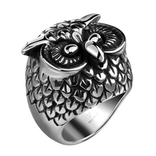 Buy New Men's Fashion Women Stainless Steel Owl Ring anello uomo US Size 8 9 10 11 Jewelry Punk Gothic Style for $4.36 in AliExpress store