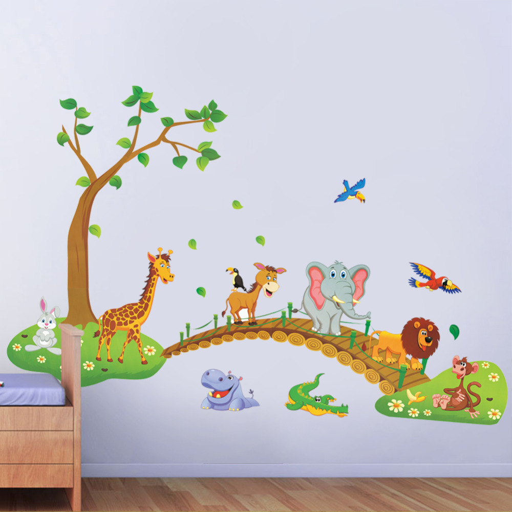 Buy Cartoon Jungle Wild Animal Wall