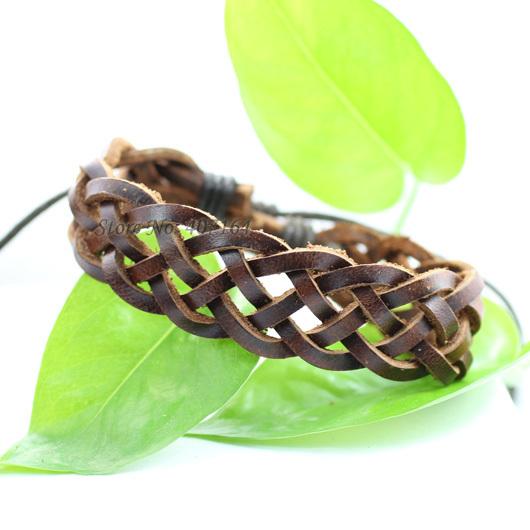 SF34- jewelry brown handmade wrap braided genuine leather bracelet Hemp rope man & women - SunFlower Trade Co.,Ltd store