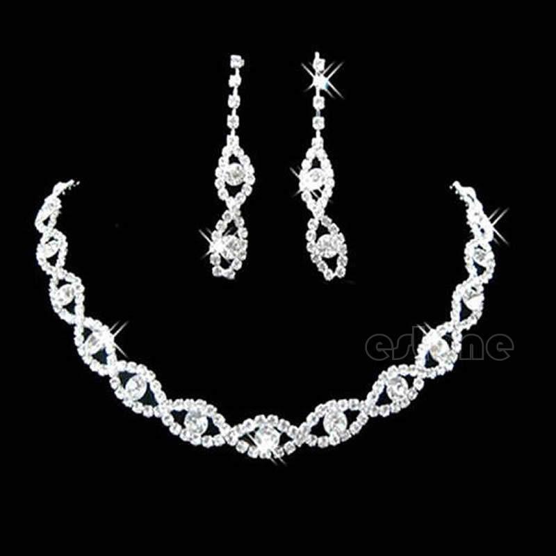 Free Shipping Bridal Wedding Party Twisted Jewllery Crystal Rhinestone Necklace & Earring(China (Mainland))
