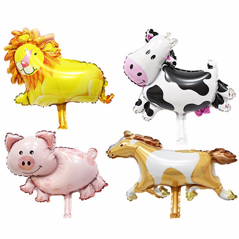 50pcs Mini Lion Cow Pig Horse Animal Helium Foil Balloons Animal Theme Party Suppliers Children Kids Classic Toys(China (Mainland))