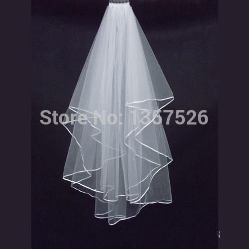 Cheap 2015 Real Sample Stock 2 Layer White Wedding Veils For Wedding Dresses Bridal Gowns Bridal Accessories WO02()