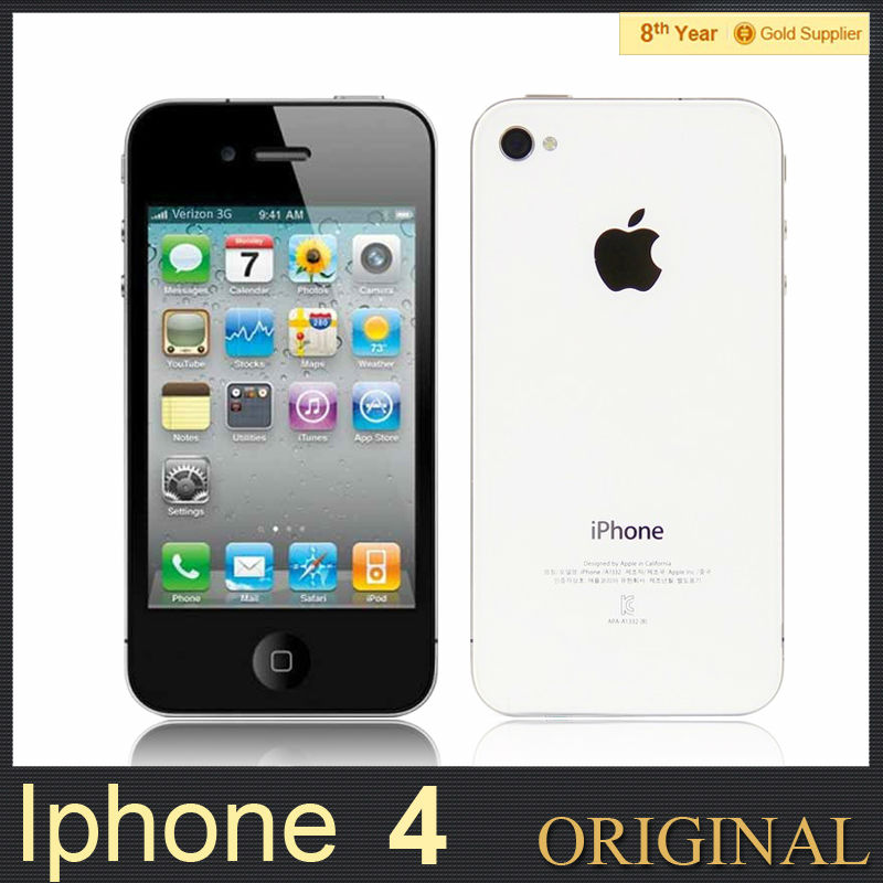 Iphone 4 3G GPS 3.5'' touch Original Cell phone Apple A4 32G ROM 8MP Camera WIFI 3G IOS OS Unlocked Used APPLE Phone(Hong Kong)