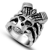 Men's Punk Goat Head Titanium Steel Rings Fashion Skull Kito Magic Ring Vintage Punk Goat Head Ring Stainless Steel Big Ring(China (Mainland))