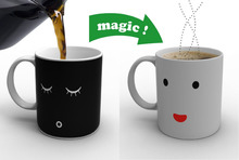 AM1A372Z High Quality Black Colour Smile Face Changing Magic Morning Coffee Mug Cup Free Shipping 1pcs
