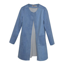 Descendants of the Sun Women Chic Suit 2016 Blue Sedue Skin Lined Suit,Long style Blue Trench Coat For Ladies(China (Mainland))