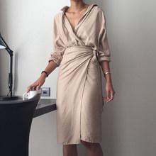[EAM] 2019 חדש סתיו חורף V-צוואר ארוך שרוול מותניים תחבושת רופף גדול גודל שמלת טמפרמנט נשים אופנה גאות JU356(China)