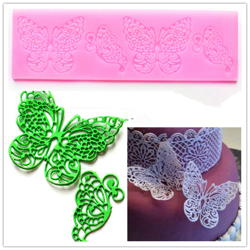2015 New Butterfly Silicone Fondant Mold Lace Wedding Cake Baking Decorating Tools Mould Party Kitchen Accessories HF249(China (Mainland))