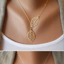 Simple European New Fashion Vintage Punk Gold Plated Hollow Two Leaf Leaves Pendant Necklace Clavicle Chain Charm Jewelry Women(China (Mainland))