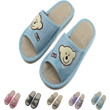 New Spring Summer Cartoon Women Linen Home Shoes Non-slip Deodorant Sweat-absorbent Breathable Ladies Casual Floor Slippers