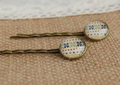 Bohemian Gypsy Clover Print Glass Cabochon Hairpins for Girls Simple Copper Hair Clips Handmade Christmas Small