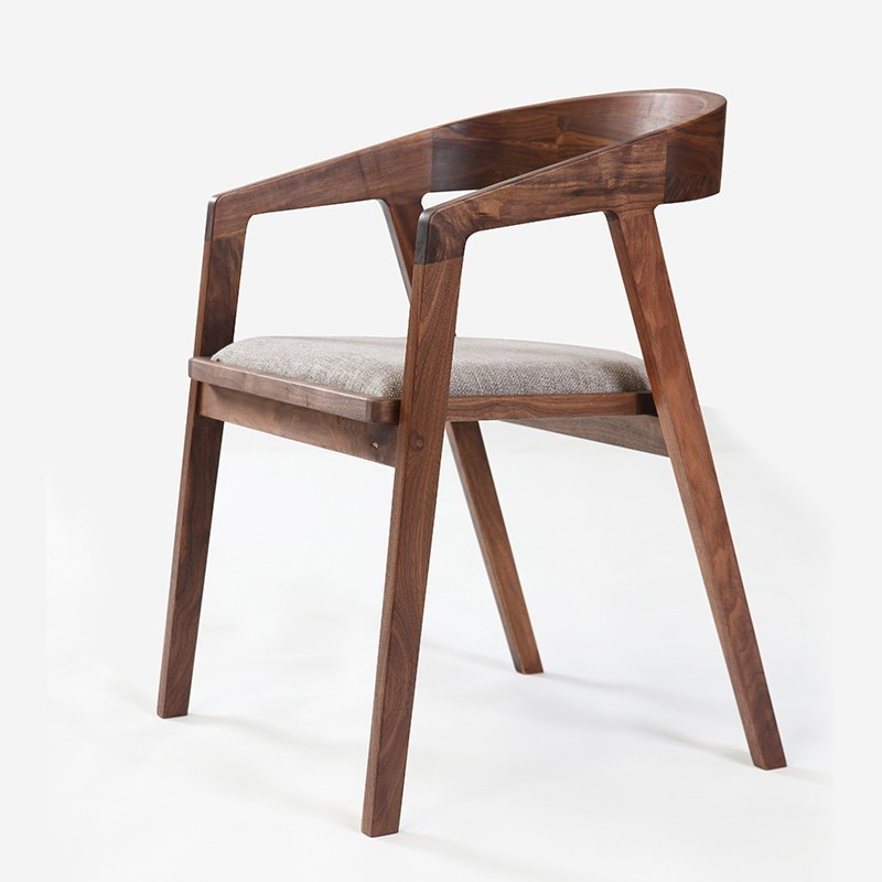 Simple and modern furniture/ walnut dining chair/ fabric chair ...