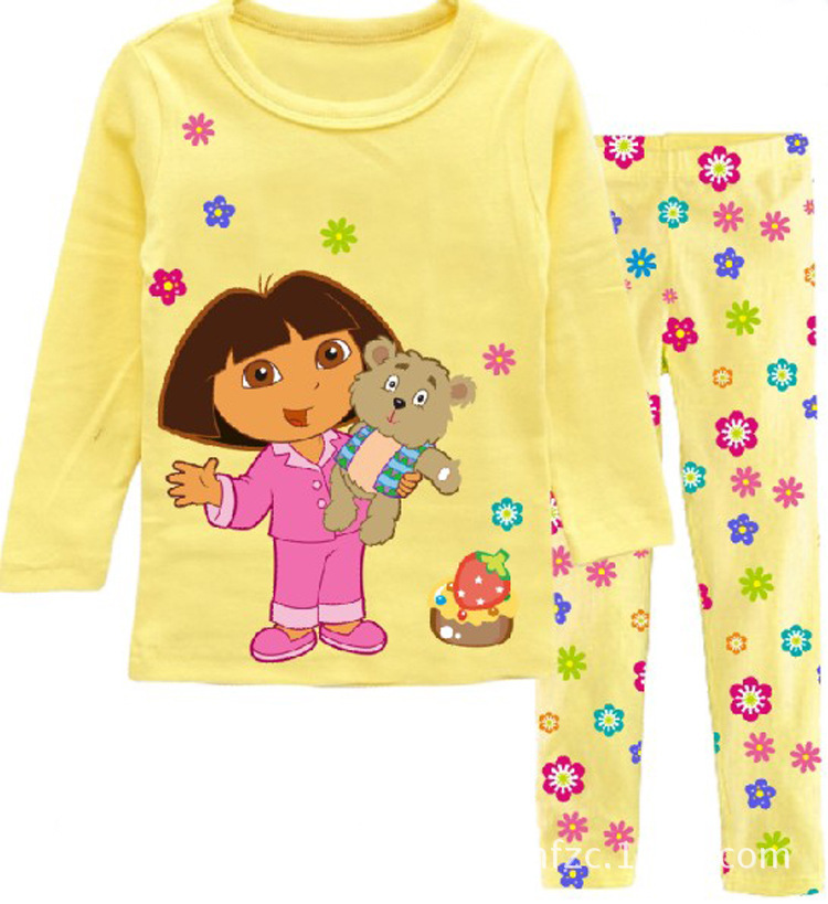 Fashion girl's clothing set spring cotton baby girls sets children's pajamas suit sleepwear Dora cartoon print t-shirts+pants(China (Mainland))
