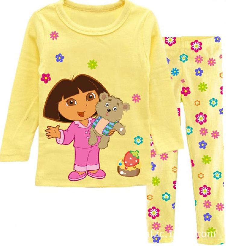 Fashion girl's clothing set spring cotton baby girls sets children's pajamas suit sleepwear Dora cartoon print t-shirts+pants(China (Mainland))