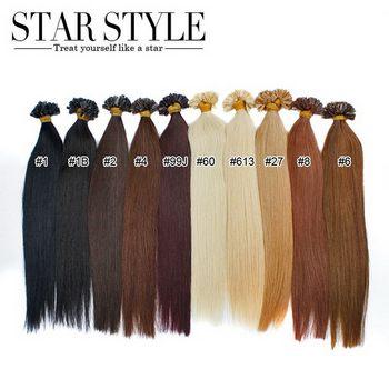 Звезда стиля волос Предварительно Таможенный V-Tip Бразильский Выдвижения Волос 10 цветов, 16-20 дюймов шелковистая прямая прямо в sotck