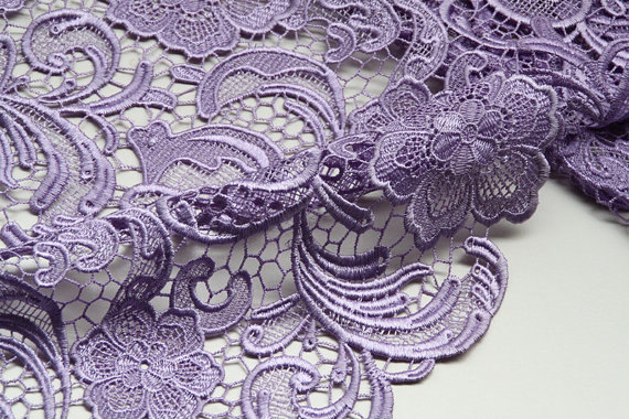 Lavender Lace Fabric, crocheted Flowers Hollowed Florals Dress Gown sewing fabric Costume Lace Curtain Supplies, 2 yards