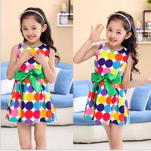 2015 New Children's Clothing Girls Summer Dresses Colorful Polka Dots Dresses Princess Cotton Dress(China (Mainland))