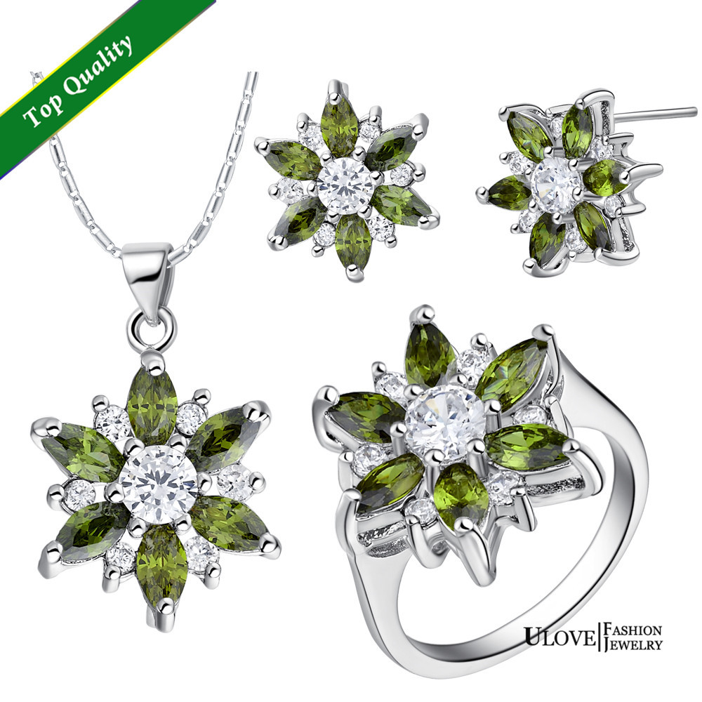 Bridal Jewelry Sets 18K White Gold Plated CZ Flower Jewelry Sets