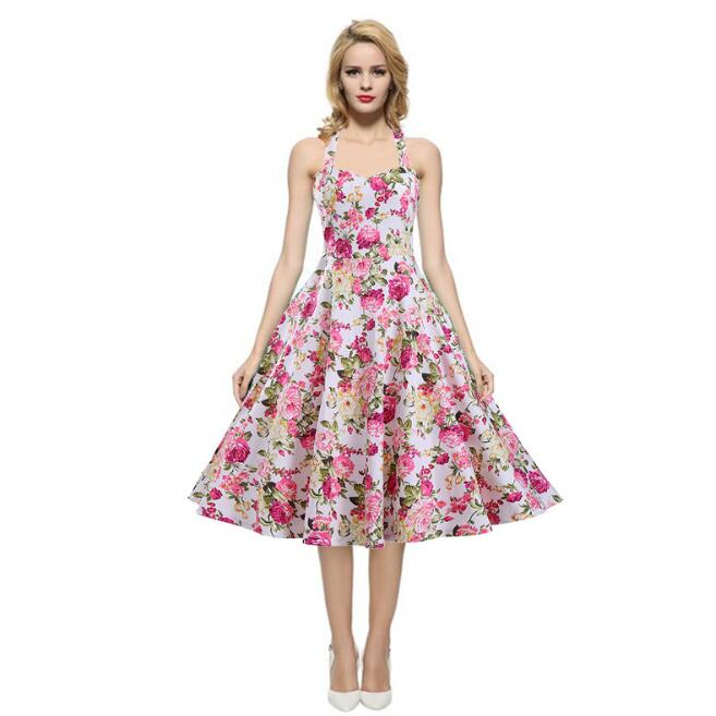 Rockabilly Full Floral Summer Cool 100% Cotton Fabric Sexy Halter Dress Muli-color Choice(China (Mainland))