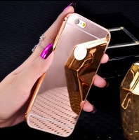 fashion coque aluminium alloy Mirror capinha back cover i phone5 phone6 4.7inch case for Apple iphone 5 5s 6 s 6s plus