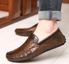 Good quality Spring Male Moccasins 2015 Male Fashion Casual Genuine Leather Flat Shoes Male Driving Shoes Brown Gray Sapato 8