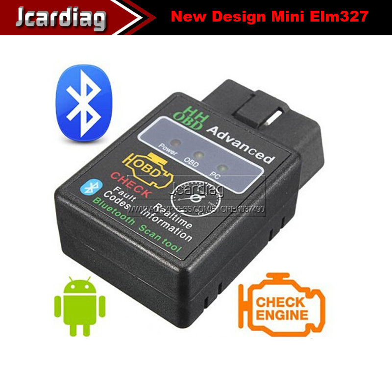 2014 New Design HH OBD Advanced MINI ELM327 v2.1 Black Bluetooth OBD2 Car CAN Wireless Adapter Scanner Tool(China (Mainland))